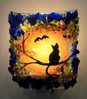 Halloween Cat Night Light made with Recycled Glass