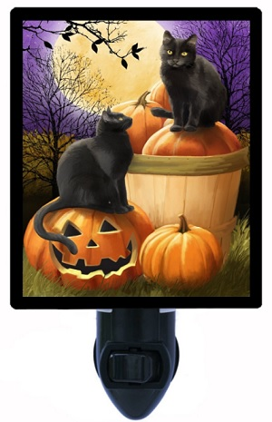 Halloween Night Light Cats and Pumpkins