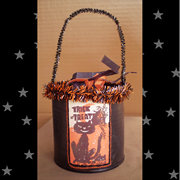 Retro Black Cats Trick or Treat Halloween Candy Bucket by Twilight Faerie